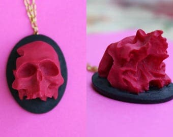 Super 3D Hot Pink Skull Head Cameo Necklace