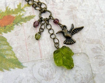 Green Leaf and Bird Pendant, Brass Bird and Dangles, Spring Green Leaf and Flowers, Lime and Amethyst Pendant Necklace, Garden Lover Jewelry