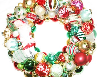 CUSTOM Vintage Ornament Christmas Wreath Holiday Glass Red Green Traditional