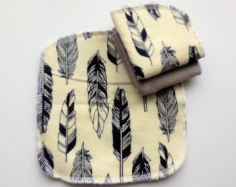 Feather set of Flannel and Terry Cloth wash cloths,cloth wipe, cloth napkin, lunchbox napkin, cow, farms, family cloth, flannel napkins