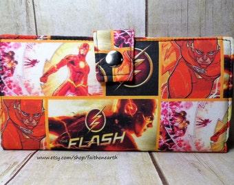 Flash Handmade Long fandom geek Wallet  BiFold Clutch - Vegan Wallet - Flash in action or half size unisex wallet