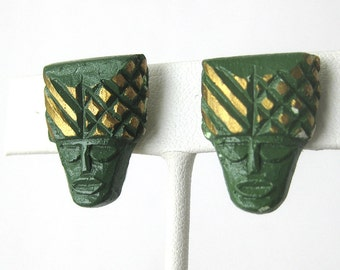 Vintage Mayan Aztec Tribal Face Screw Back Green and Gold Earrings Set