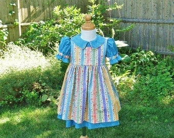ON SALE Toddler girl, dress and pinafore, turquoise dress, floral stripe, Size 1T, Ready to Ship, Ooak, two piece outfit, sundress, jumper d