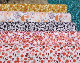 Special Price 5 FQ Butterfly Sketchbook Bundle ~ Strawberry Moon Collection by Sandi Henderson for Michael Miller Fabrics