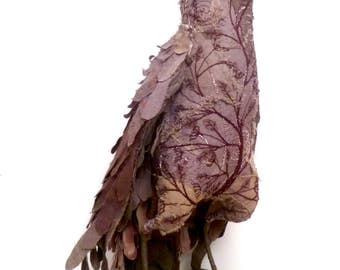 Adalaide bird soft sculpture, fiber art, home decor textile art bird, hand stitched bead embroidery, self standing collectible, up cycled