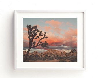 framed Joshua Tree sunset photo, framed desert print, ready to hang baby nursery decor, California art, boho wall art, landscape photography