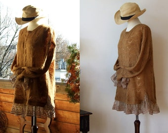 Knitted tunic sweater with vintage lace, honey tobacco open work cardigan, romantic oversized sweater, back closure tunic & lace ruffle