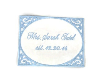 Wedding Dress Label.Wedding Dress Labels.Wedding Dress Patch.Something Blue Wedding Patch.Embroidered Wedding Dress Label.Frame Dress Label.