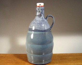 Handmade stoneware pottery flip top 64oz Beer Growler , Keeps your beer fresher !
