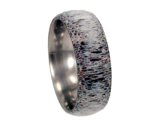 Deer Antler Band, Titanium Ring Without Edges, Ring Armor Included