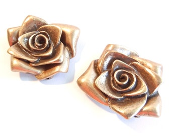 Pair of Antique Rose Gold-tone Four Link Rose Connector Charms