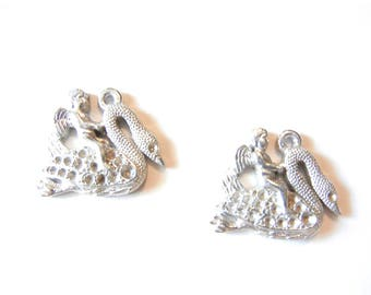 2 Pewter Angel Riding a Swan Charms Fantasy
