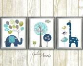 Nursery Decor Boy Dark blue green gray Baby nursery decor Kids art elephant nursery giraffe nursery wall art  bird - Set of 3 prints