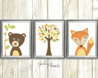 Woodland nursery art print Fox Nursery baby nursery decor children art tree bears Forest Kids room Art Set of three prints