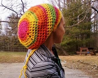 DREAD HAT Natural Handmade Crochet Hat Rasta Hat WOOL Hat Slouch Hat Dreadlock Tam Dreads *Day-Glo Mix*