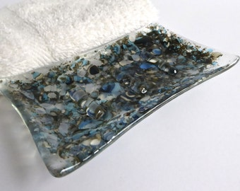 Fused Glass Soap Dish in Turquoise and Cream by BPRDesigns