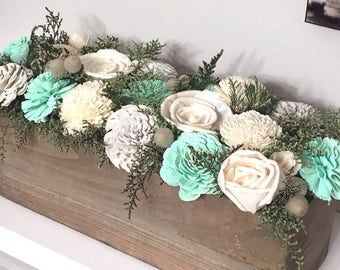 Gray, Mint, Ivory Wedding Arrangement made with sola flowers - choose colors -  - Alternative flowers - bridesmaids bouquet - Wedding decor