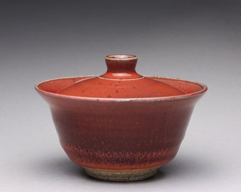 handmade ceramic gaiwan, pottery gaiwan with bight red and white ash glazes