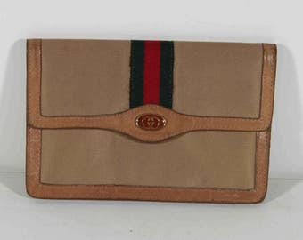 GUCCI VINTAGE Tan Canvas & Leather WALLET Coin Clutch Purse w/ Stripes