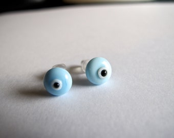 Baby Blue Evil Eye Stud Earrings