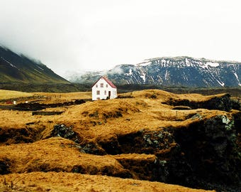 "Iceland Decor, Nordic Print, Iceland Photography, Wedding Gift, Home Decor Prints, Beach House Print, Yellow Landscape, ""House By The Sea"""