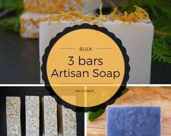 Bulk Discount 3 soaps for 15 -handmade soap/ulster soaps/bulk soap/organic soap/natural soap/soap/vegan soap/face soap/bar soap/hand soap/