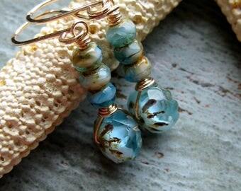 Aqua Cream Czech Glass Gold Filled Earrings-14K Gold Fill-Wire Wrapped-Beach Blue-Glass Beads-Beaded Earrings