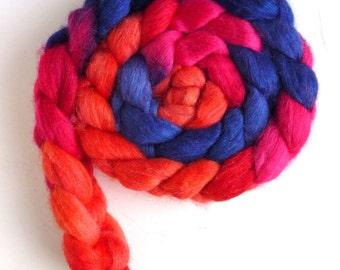 Polwarth/Silk Roving - Handpainted Spinning or Felting Fiber, Red-Pink, Blue-Violet