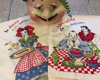 Pair 1940's Kitchen Dish Towels French Whimsy Cartoon Illustrated Funny Humor Darling Printed Cloths Bright Primary Colors