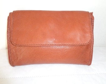 Thick soft deerskin leather large ,opulent clutch  , evenig bag, cosmetic bag in brown flawless vintage