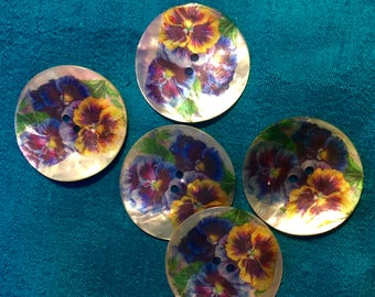 "AKOYA SHELL  three pansy button   One Piece  1 1/4"" Diameter"