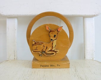 Vintage Mail Organizer, Vintage Napkin Holder, Wood Deer, Vintage Deer, Deer Napkin Holder, Pocono Souvenir, Deer Mail Organizer, Wood Deer
