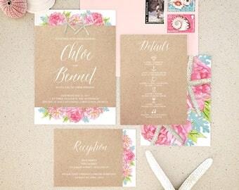 Pink Peonies and Starfish Watercolor & Kraft Wedding Invitations