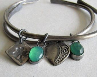 Heavy Silver Charm Cuff Bracelets - Shamrock and Green Onyx - Green Onyx and Heart - Hammered Silver Cuff - St. Patrick's Day Jewelry