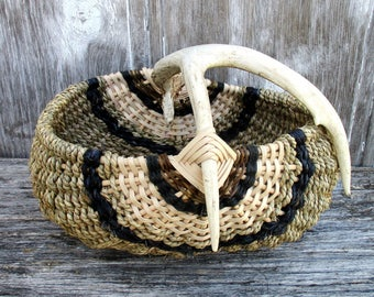 Deer Antler Basket Woven of Natural Materials with Black Accents