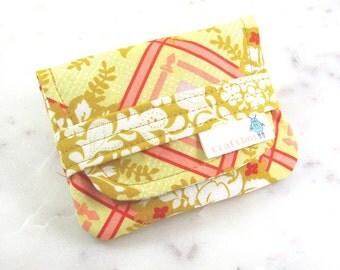Birth Control Case, Birth Control Holder, Pill Sleeve, Mustard Print, Yellow Floral, Pill Wallet, Birth Control Pouch, Pill Pouch, Card Case
