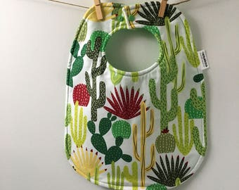 Cactus Baby Gift - Succulent Baby Bib - Gardening Baby Gift - Toddler Bib with Snaps - Big Bib - Unisex Baby Gift - Gender Neutral Bib