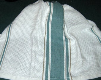 Crochet Kitchen Hanging Towel wedgewood blue stripes, white top Better Homes