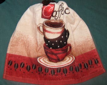 One Kitchen Crochet hanging Towel stact of 3 Coffee cups, brown crochet top