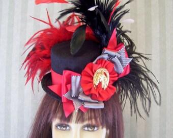 "Kentucky Derby Mini Top Hat, Kentucky Derby Fascinator, ""HoRse ShOe"" Derby Tea party Hat Mini Top hat, BLAcK and ReD, WonDerLand Hat"
