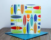 Blank Mini Card Set of 10, Mini Surfboards with Contrasting Pattern on the Inside, Sea Blue Metallic Envelopes, mad4plaid