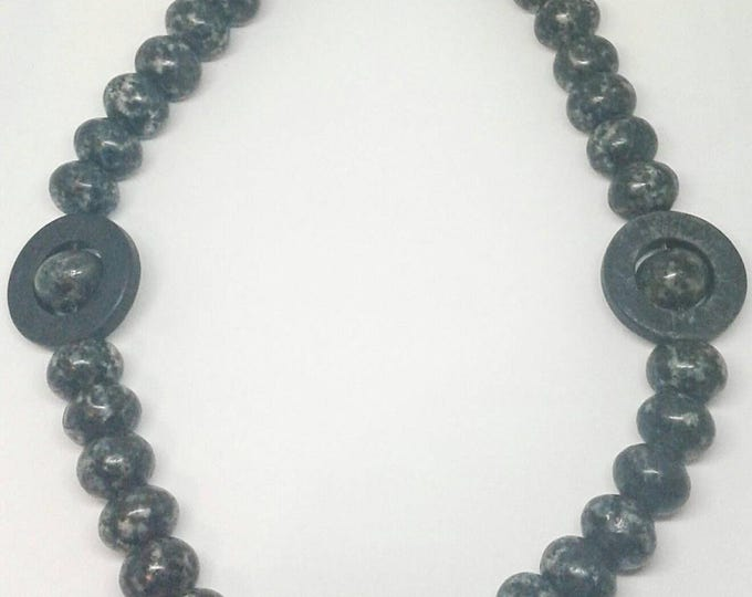Item #201741. Jace, handcrafted, Handmade, Gemstone Jewelry with Jasper and Black Stone, 20 Inches Long.