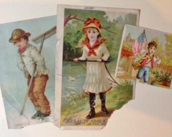 Antique Scraps Ephemera 1880s Children Illustrated