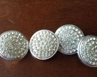 Vintage Buttons-4 beautiful matching rhinestones silver metal (mar 226 17)