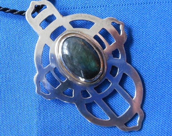Silver Cross w/ Big Irridescent Labradorite Oval, Artist's Collection, Early Work, Signed, Dated, Hand Pierced and Polished Sterling