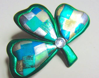 Mosaic Shamrock  Saint Patrick's Day Irish Pin Brooch