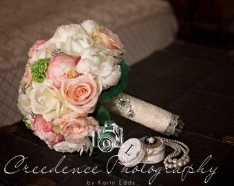 Custom order listing for.....Jennifer....Cottage Chic Silk Pink Peony Peach Rose Bridal Wedding Bouquet