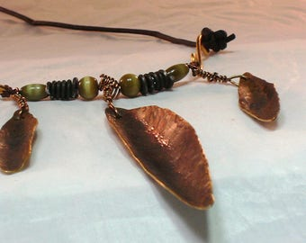 Handmade Triple Leaf Bronze, Iron and Copper Necklace with Leather Cord Artisan Jewelry