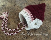 Newborn girl pixie hat.. Valentine's Day... photography prop.. ready to ship