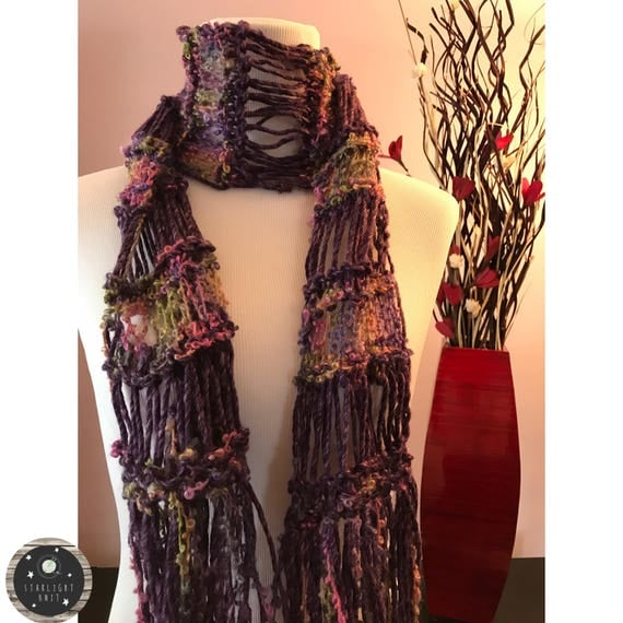 Hand Knit Ladies Fashion Accessory Scarf with Violet Soft Yarn accented with a fun colorful mix